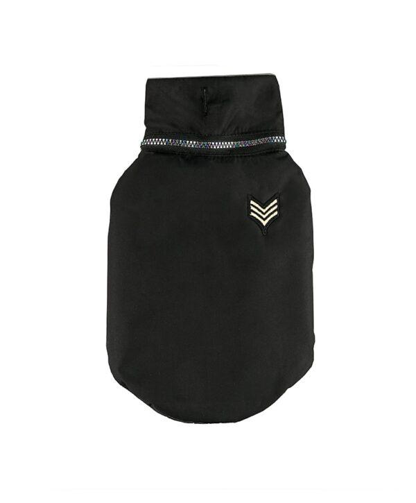 Dog Winter Jacket Black Army Patch