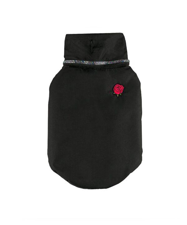 Dog Winter Jacket Black & Red Rose